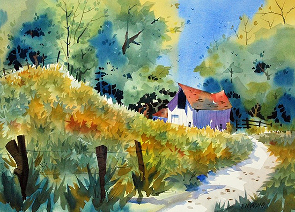 """Watercolor painting """"The Barn Out Back"""" (photo courtesy of the artist, Randy Emmons)"""