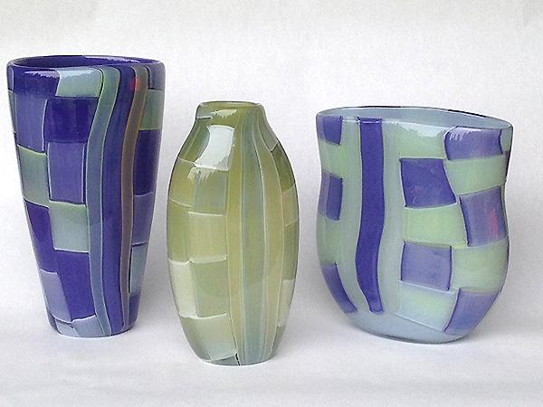 Basketweave Glass Vases (photo courtesy of the artist, Katrina Hude)
