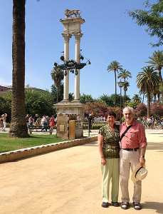 Carolyn and Rich Tamler in Seville  (photo by a friendly passerby)