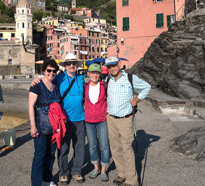 Whidbeyites Charles Terry and Betsy MacGregor with Carolyn and Rich Tamler in Cinque Terre, Italy (photo by a friendly passerby)
