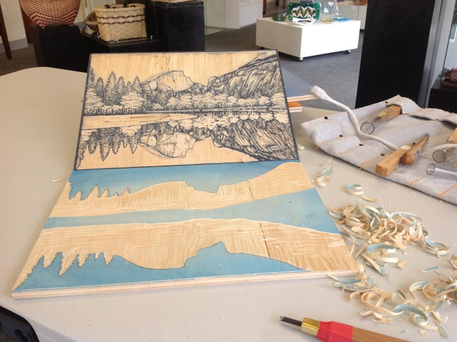 Linnane Armstrong woodblock print in process, photo by Linnane Armstrong.
