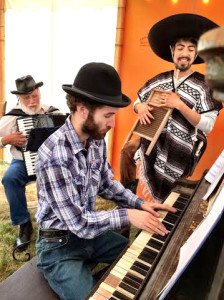 Composer Matthew Bell at the piano with David Locke on accordion and Cesar Perez Rosas on washboard  (photo by Rose Woods)