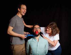 "Gabe Harshman, Max Cole-Takanikos and Teresa McElhinny get into the hijinks of Christopher Durang's absurdist play ""Why Torture is Wrong and the People Who Love Them."" It opens July 11 at OutCast in Langley. / Photo by Jim Carroll"