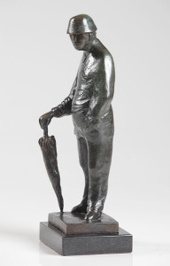"""Man with Umbrella"" bronze by Jeff Day  (photo courtesy of the artist)"