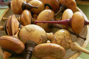 A collection of wooden ornaments by artisan Jim Short  (photo by Martha McCartney)