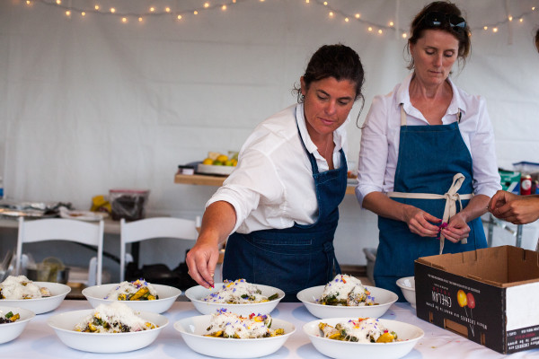 Chef Renee Erickson putting the finishing touches on the squash course. Photo credit: Audra Mulkern