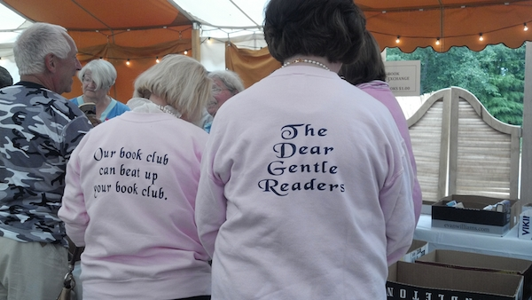 "The best sweatshirt slogan belongs to the Dear Gentle Readers Book Club whose slogan, ""Our book club can beat up your book club,"" is tongue in check intimidating.  Sporting the sweatshirts are Blair McDaniel & Anne Sullivan.  Photo courtesy of Donna Hood"