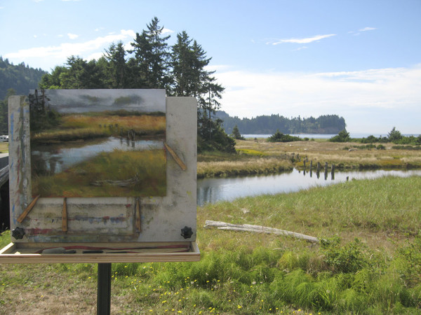 Sandy Byers painting at Salt Creek (photo courtesy of the artist)