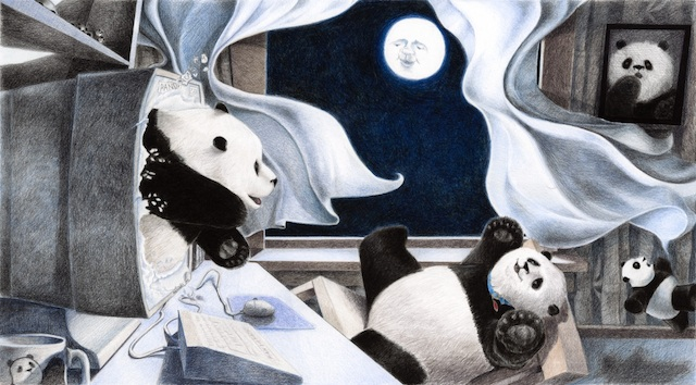 """An original colored-pencil on bristol board from Anne Belov's new children's book, """"Pandamorphosis."""" / Photos courtesy of the artist"""