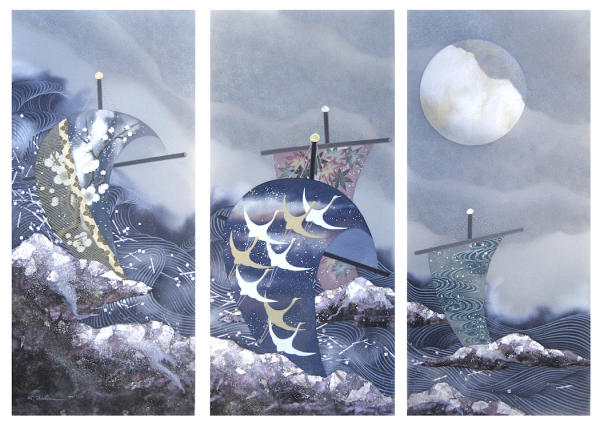 """Quiet Storm,"" triptych, mixed-media on silk by Keiichi Nishimura. / Photo courtesy of the artist"