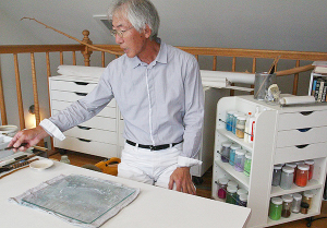 Nishimura at work in his studio  (photo by Martha McCartney)