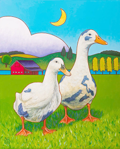 Betsy & Walter – Mascots for this year's Farm Tour, artwork created by Stacey Neumiller