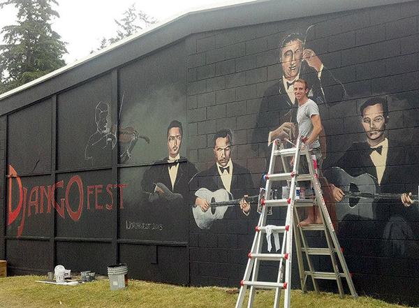 Matthew Statz at work on Django mural, 2013   (photo by Somer Kreismen)