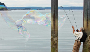 Lindsay has learned to make bubbles and he paints the wind  (photo by Martha McCartney)