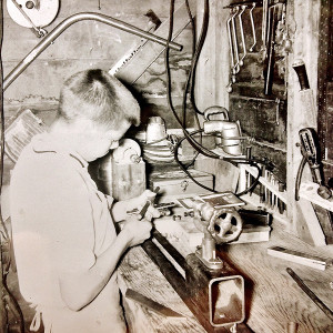 Tom Lindsay, age 10, at work in his grandfather's workshop  (photo courtesy of Tom Lindsay)