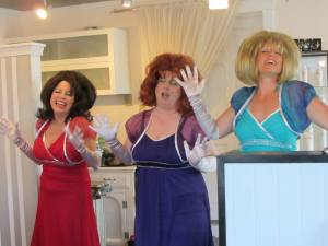 """Nancy Nolan, Melinda Mack and Bristol Branson work up a lather in a promo for """"Lather, Rinse, Repeat"""" the new musical by Dana Linn."""