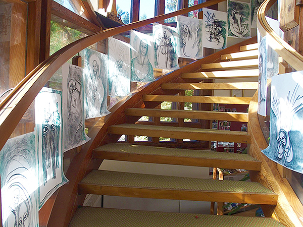 A Staircase full of Touch Drawings from the conference by Deborah Koff-Chapin  (photo by the artist)