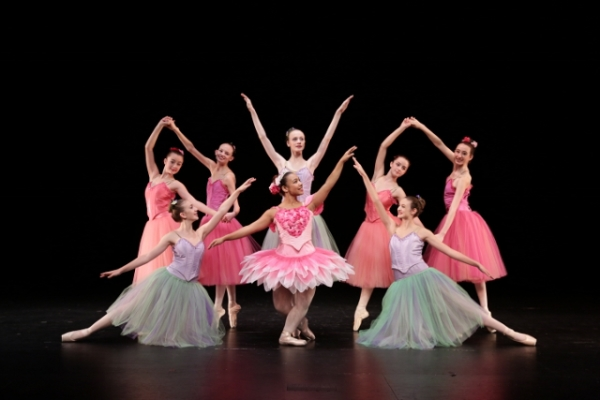 The dance of the flowers includes, in front, Alexa Varga, Faith O'Brochta, Skyylynn Lippo; in back, Bronte Patty-Caldwell, Kelsey Lampe, Holly Johnson, Emma Patty-Caldwell, and Caitlyn Zarifis. / Michael Stadler photo
