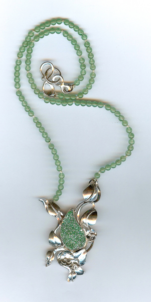 Barb Mundell's green drusy  necklace with jade beads.