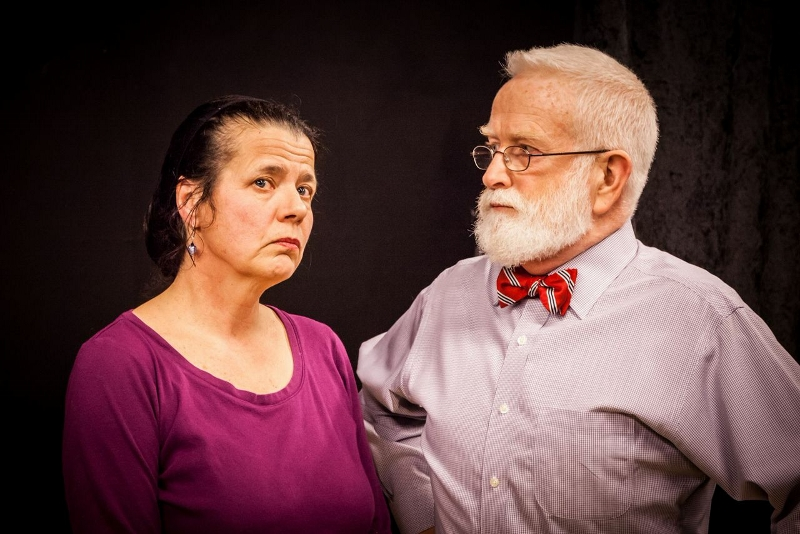 "Julia Tewksbury as Barbara and Eric Anderson as Phillip rehearse Joan Holden's play ""Nickel and Dimed,"" based on the nonfiction bestseller by Barbara Ehrenreich. / Photo by Jim Carroll of Shu Images"