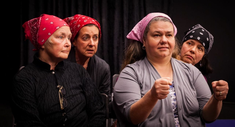 "Peggy Gilmer, Judith Dankanics, Mona Newbauer and Julia Tewksbury portray the low-wage women workers of ""Nickel and Dimed"" on (not) getting by in America. / Photo by Jim Carroll of Shu Images"