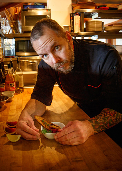 John-Paul Dowdell with his succulent Pork Belly and Blood Oranges    (photo by David Welton)