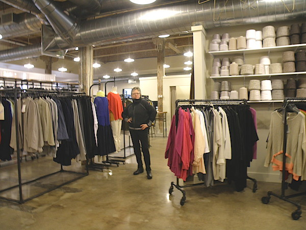 Robbie Lobell enjoying Eileen Fisher creations