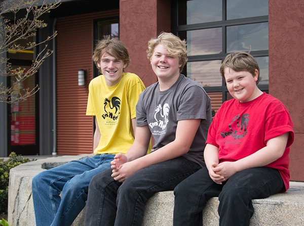 The Cook brothers—Jameson, Adrian and Julian, left to right  (photo by Marsha Morgan)