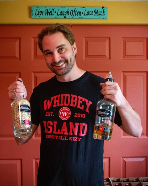 General Manager Mike Huffman with the raw and soon to be released Bunker Rye  (photo by Steve Kilisky)