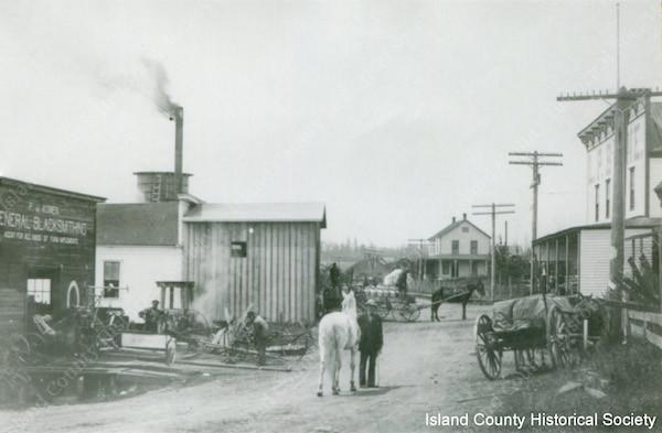 Oak Harbor circa 1905-1912, the blacksmith's shop.
