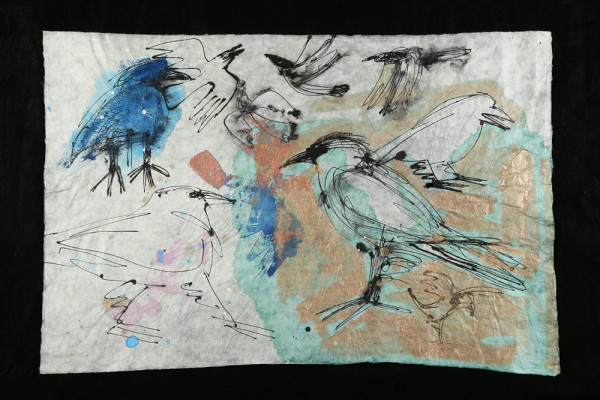 """Crows,"" mixed-media collage by Francy Blumhagen."