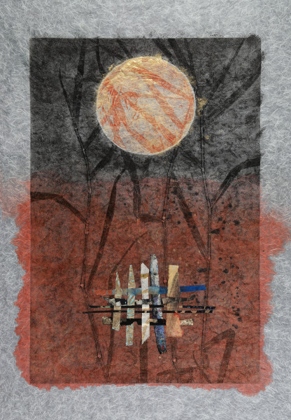 """Red Moon,"" mixed-media collage by Francy Blumhagen.  /All photos by Michael Stadler"