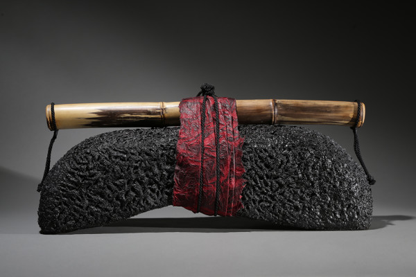 """Shinto,"" bamboo, fibers, handmade paper, cording."