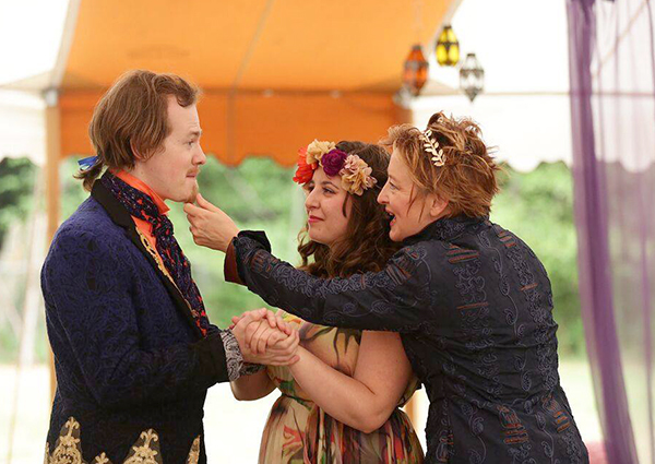 Tyler Joseph Kubat as Ferdinand, Katrina Lind as Miranda, Wheeler as Prospero    (photo by Michael Stadler)