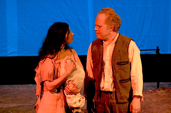 "Jim Scullin as Michael Rowan, Laura Persaud as Morning Star in ""The Kentucky Cycle""   (photo by Tyler Raymond)"