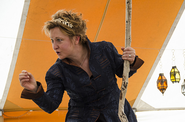 Amy Wheeler as Prospero in The Tempest. (photo by Kim Tinuviel)