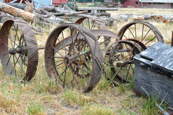 Unique old and new farm implements are found around the farm. (photo by Marsha Morgan)