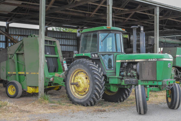 Some of the larger pieces of equipment used in the maintenance of the farm.   (photo by Marsha Morgan)