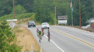 The four Tar Sands riders near the Eagles Lodge on South Whidbey on their training ride   (photo by Ann Linnea)