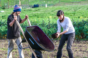 Lorn Brace-Wessel and Melissa Cipollone, Farm School students, learn that adding compost and adjusting nutrients in the soil is important for a healthy crop.   (photo by Marsha Morgan)