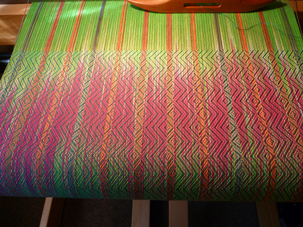 A colorful weaving, in progress, by Anne Niles Davenport   (photo by the artist)