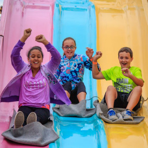 Kids and adults enjoyed the slide, (photo by David Welton)