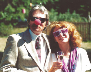 Author with husband (David Ossman) on their (unconventional) wedding day. Aug. 29, 1987 (photo courtesy of the author)