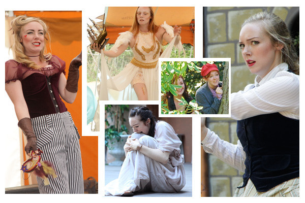 Olena Hodges in Much Ado About Nothing (Beatrice, 2013), The Tempest (Ariel, 2015), Romeo and Juliet (Juliet, 2011), As You Like It (Rosalind, 2010), and A Midsummer Night's Dream (Helena, 2012).