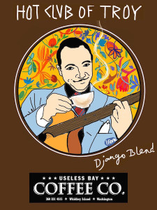 "The label for UBCC's new ""Django Blend"" was created as a celebration of the Hot Club of Troy's beginnings at the lively local gathering place. It was created by author, artist and gypsy jazz guitarist Irene Ypenburg."