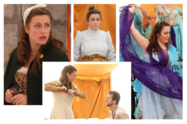 Zora Lungren in The Three Musketeers (Constance and others, 2015), Richard III (Lady Anne Neville, 2014), The Taming of the Shrew (Nathanial/Saloon Wench, 2014), and The Tempest (Elemental, 2015)