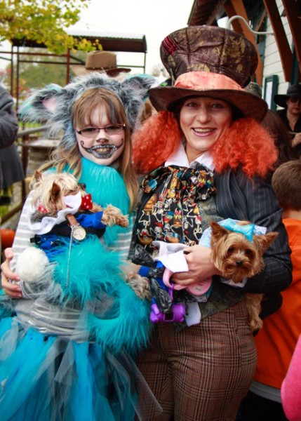 "Sasha Sheldon and her mother Natasha won ""Best Dog and Dog Owner Costume."""