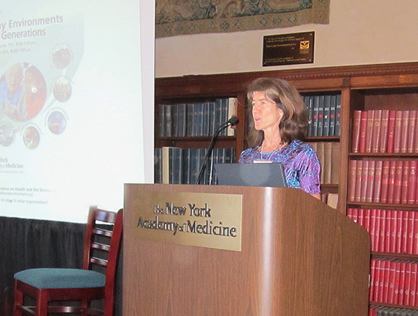 Miller speaking at the New York Academy of Medicine, June 2012 (photo courtesy of Elise Miller)
