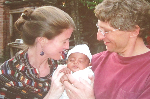 Miller, son Ravi and husband Dan in Kathmandu, 2005 (photo courtesy of Elise Miller)