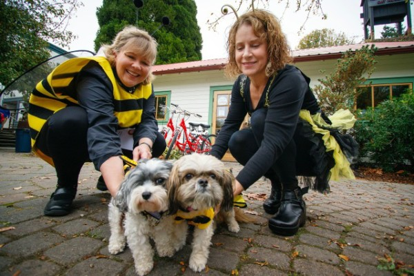 Pups Pixie and Pasco, Julie Lundstad (left) and Salley Westcott showed off their bee-utiful costumes.